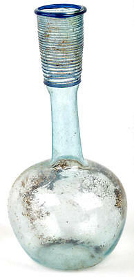 large Ancient Roman glass Green Bottle with Cobalt Trailed Thread Decoration .