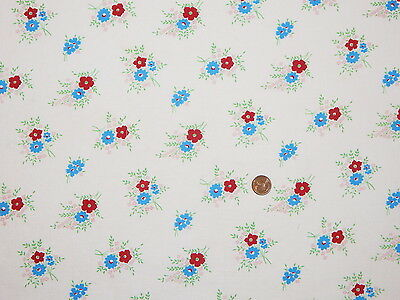 VTG COTTON FEEDSACK Flour Sack FABRIC ~ Sweet Red Blue Small Floral Large Piece