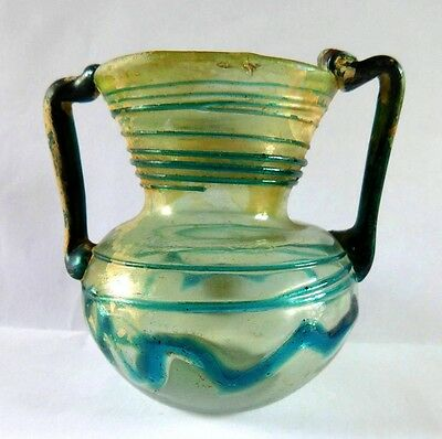 Ancient Roman Glass Two-Handled Vessel with Trail .