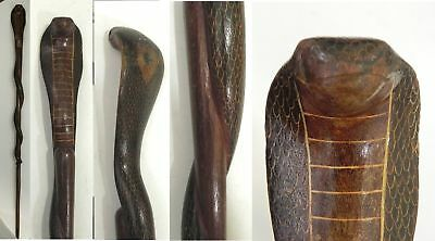 "EC13 Vintage 1950s Handcarved Entwined Wooden Snake 43"" Walking Stick Cane"