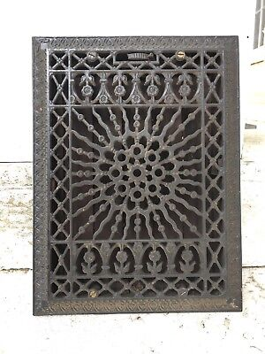 Antique Victorian Cast-Iron Heater Grate 12x16 Vent Register