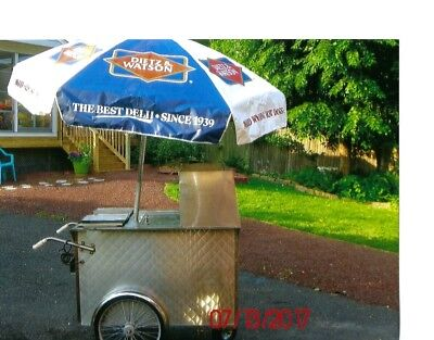 All Electric Stainless Steel 6 Compartment Mobile Hot Dog Cart with Umbrella