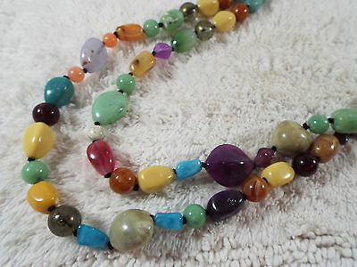 Two Strand Long Colorful Faux Stone Bead Necklace (C45)
