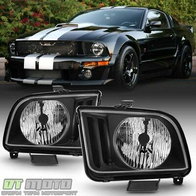 Black 2005 2006 2007 2008 2009 Ford Mustang Headlights Headlamps Left+Right Pair