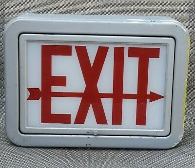 Vintage Metal Exit Sign Arrow Glass Display