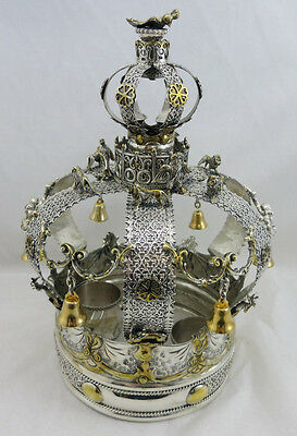 Small Sterling Silver 925 Antique Style Torah Crown Ornate Rare Different Gold