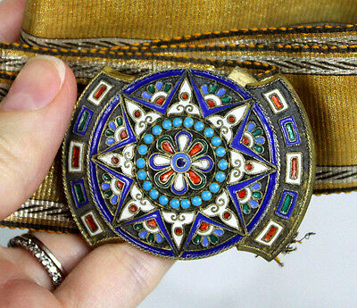 Antique Late 1800s Early 1900s Russian Gilded Silver Cloisonne Belt Buckle 925