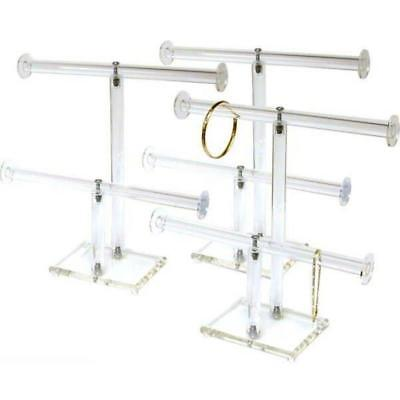 3pc 2 Tier Clear Acrylic T-Bar Chain & Bracelet Display