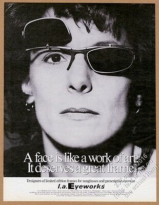 1994 Elizabeth Streb photo L.A. Eyeworks glasses vintage print ad