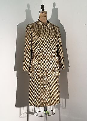 Vintage 1960s/60s Gold Lurex Checkered 3 Piece Suit Nauru Jacket Skirt Top Mod