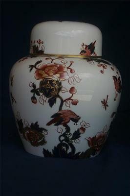 Coalport Ginger Jar LARGE With Lid Hong Kong Flowers Birds Red Blue Gold 6 1/2'