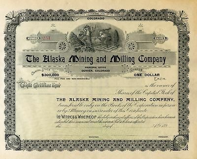 The Alaska Mining and Milling Co Stock Certificate Un-issued Circa 1890's