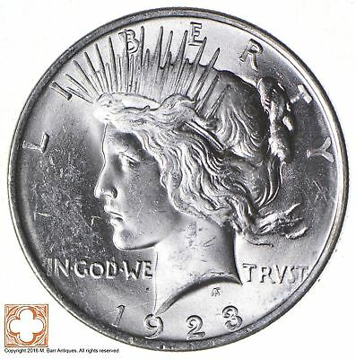Uncirculated 1923 Peace Silver $1.00 United States Dollar - Stunning! *813