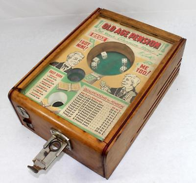 Rare Vintage 1930's Coin Operated Old Age Pension Trade Stimulator Dice Game