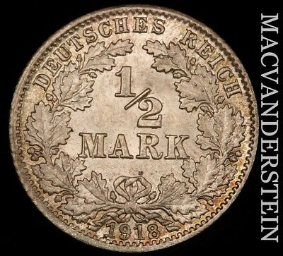 Germany (Empire): 1918-D Half Mark- Lustrous !! Brilliant Uncirculated !! #u563