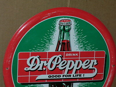 """DR PEPPER Good For Life -12"""" Round Embossed Tin TEXAS SIGN Not Faded Used Inside"""