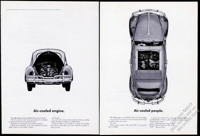 1963 VW Beetle classic car with sunroof Air Cooled People 16x11 vintage print ad
