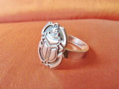 Antique Egyptian Silver Midi,Toe Ring Band Ancient Scarab Beetle Stamped..Size 5