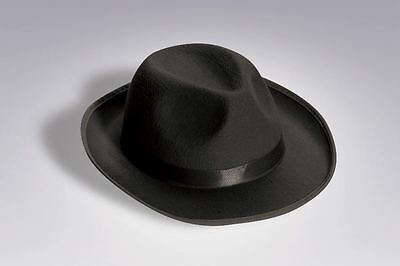 1920S 20's Mens Black Gangster Satin Fedora Trilby Blues Brother Costume Hat