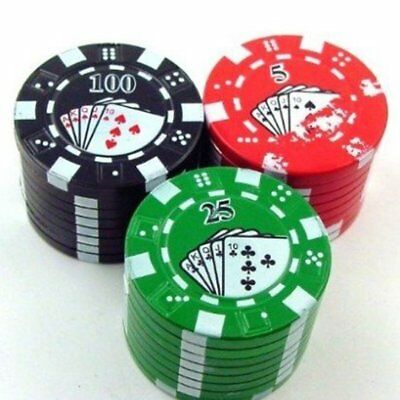 3-Layer Poker Chips Style Metal Tobacco Herb Spice Crusher Crusher Grinder US