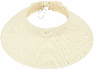 Women Wide Brim Roll Up Beach Sport Straw Visor Sun Outdoor Hat