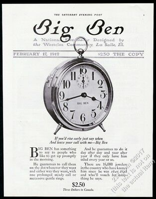 1912 Westclox Big Ben alarm clock photo vintage print ad