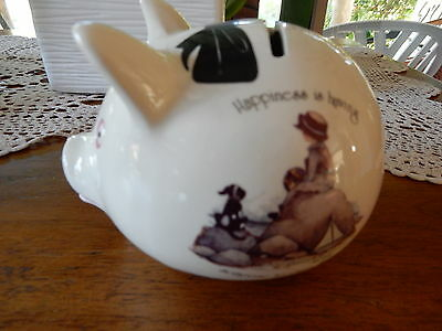 Vintage Holly Hobbie Happiness iIs Having Someone To Care For Pig Money Box