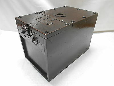 Antique Keyaki Wood Temple Money Cash Box C1880s Japanese  #686