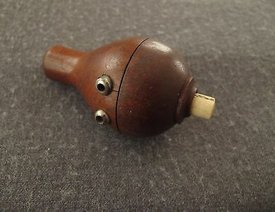 Antique Carved Wood & Genuine  Bovine Bone Push Bell Ringer