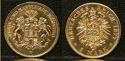 HAMBURG 5 gold marks 1877   MINT--HAND SELECTED--COAT OF ARMS OF CTTY-Pre WW 0NE