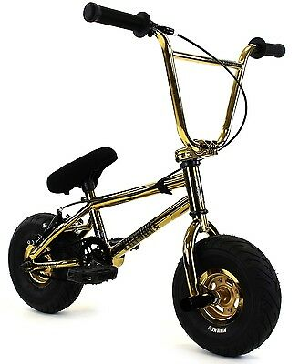 "2017 FatBoy Stunt Mini 10"" BMX Bicycle Fat Tire Freestyle Bike Thunder Bolt Gold"
