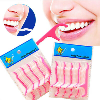 50Pcs Dental Floss Flosser Picks Teeth Toothpick Stick Oral Care Tooth Clean New