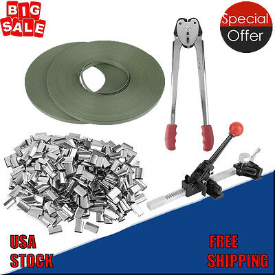 STRAPPING TOOL Complete Kit &Metal Seals & Poly Strap Banding Roll Supply Set SE