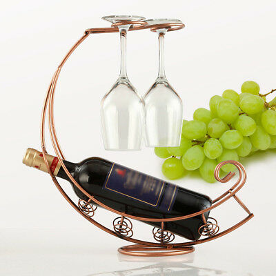 Black/Bronze Metal Wine Bottle Champagne Storage Holder Rack Bar Stand Bracket