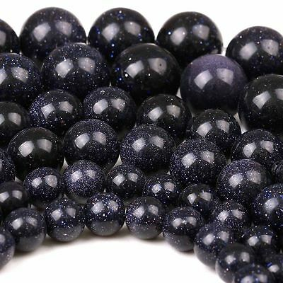 HOT NEW Natural Blue Sand Round Gemstone Loose Spacer Stone Beads 4/6/8/10/12mm