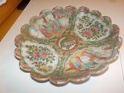 19th Century Chinese Rose Medallion Scalloped Bowl Serving Plate Dish Nice!