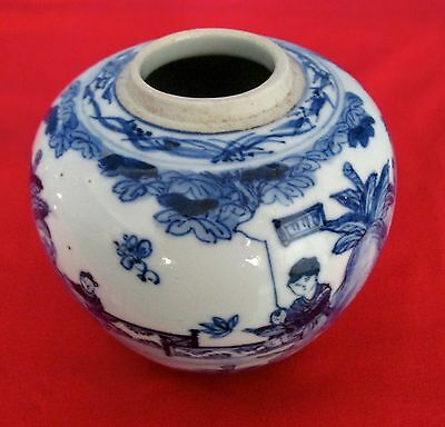 An 18th/19th Century Chinese Blue & White Porcelain Ginger Jar.4&3/4 Inches VGC.