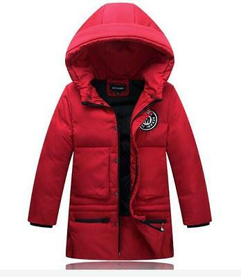 Boys Kids Warm Long Coat Hooded Padded Parka White duck Down Jackets