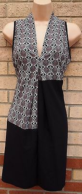 Next Petite Black White Red Abstract V Neck Smock Baggy Tunic Tea Dress 12 M
