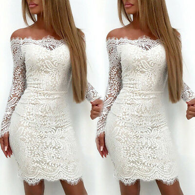 UK Women Bodycon Lace Formal Dress Ladies Cocktail Evening Party Bandage Dress