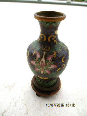 Antique Chinese cloisonne vase small Floral 10cm H with Wood Base