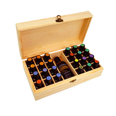25 Slot Essential Oil Bottle Storage Box Wooden Wood Aromatherapy Organizer Case