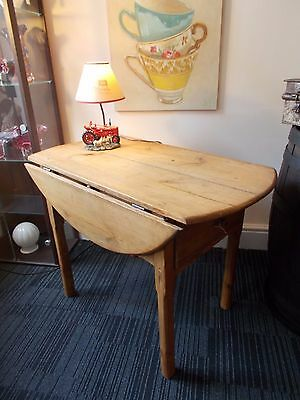ANTIQUE VICTORIAN PINE FARMHOUSE DROP LEAF TABLE WITH DRAWER - courier available