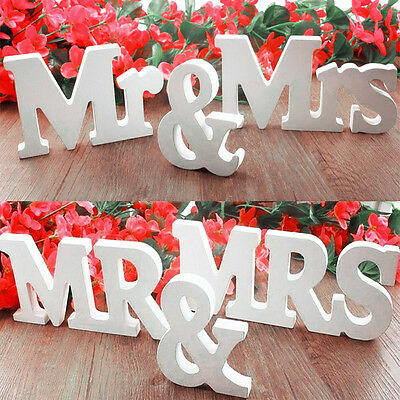 Mr & Mrs Wooden Letter Sign DIY Freestanding Top Table Centerpiece Wedding Décor