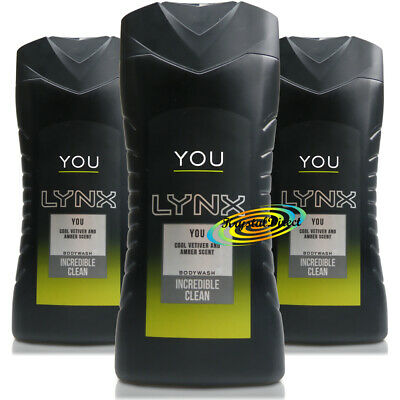 3x Lynx YOU Body Bath Wash Shower Gel For Men 250ml Refreshing Fragrances
