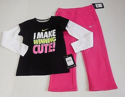 NWT Girls Nike Long Sleeve Shirt & Nike Pink Sweat Pants sz 4 ~  Winning Cute ~