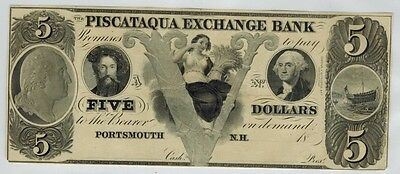 New Hampshire, Portsmouth 1840s PISCATAQUA EXCHANGE BANK, $5 Obsolete Currency