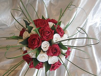 Bride Rose & Foliage  Handtied Posy Wedding Bouquet Flowers - Red And White