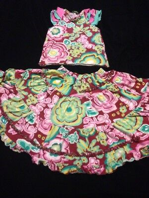 Oilily 116 (5-6), Girls 2 Pcs Set Multicolor Floral Skirt, Matching Top PLAY