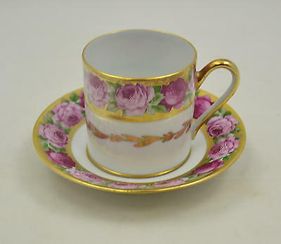 Singer Limoges France - Rose de Paris - 3 Mokkatassen - Moccatassen -